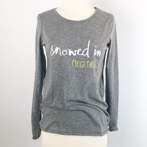 New Aerie Graphic Tee Shirt Gray Long Sleeve S/P